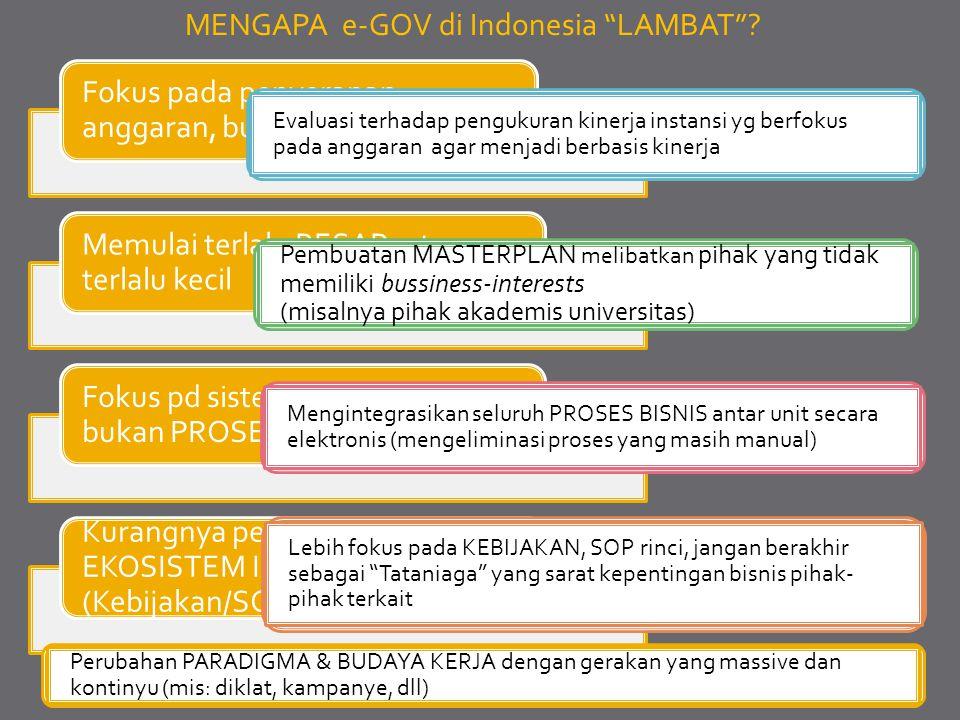 """MENGAPA e-GOV di Indonesia """"LAMBAT""""? Fokus pada penyerapan anggaran, bukan MASTERPLAN Memulai terlalu BESAR, atau terlalu kecil Fokus pd sistem Transa"""