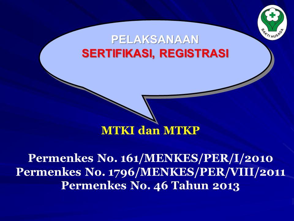 PELAKSANAAN SERTIFIKASI, REGISTRASI PELAKSANAAN MTKI dan MTKP Permenkes No. 161/MENKES/PER/I/2010 Permenkes No. 1796/MENKES/PER/VIII/2011 Permenkes No
