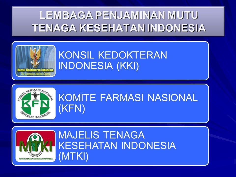 LEMBAGA PENJAMINAN MUTU TENAGA KESEHATAN INDONESIA KONSIL KEDOKTERAN INDONESIA (KKI) KOMITE FARMASI NASIONAL (KFN) MAJELIS TENAGA KESEHATAN INDONESIA