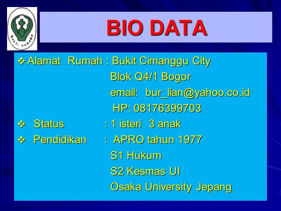 BIO DATA  Alamat Rumah : Bukit Cimanggu City Blok Q4/1 Bogor Blok Q4/1 Bogor email: bur_lian@yahoo.co.id email: bur_lian@yahoo.co.id HP: 08176399703