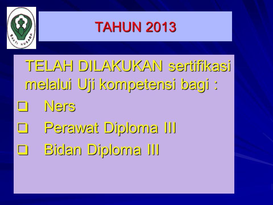 TAHUN 2013 TELAH DILAKUKAN sertifikasi melalui Uji kompetensi bagi : TELAH DILAKUKAN sertifikasi melalui Uji kompetensi bagi :  Ners  Perawat Diplom