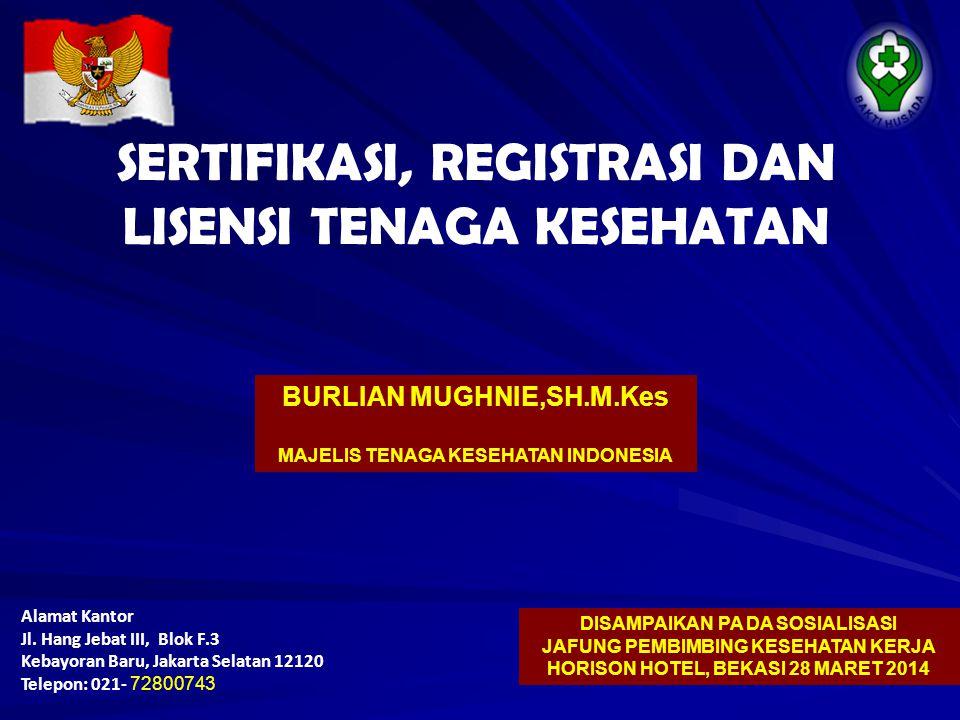 Alamat Kantor Jl. Hang Jebat III, Blok F.3 Kebayoran Baru, Jakarta Selatan 12120 Telepon: 021- 72800743 SERTIFIKASI, REGISTRASI DAN LISENSI TENAGA KES