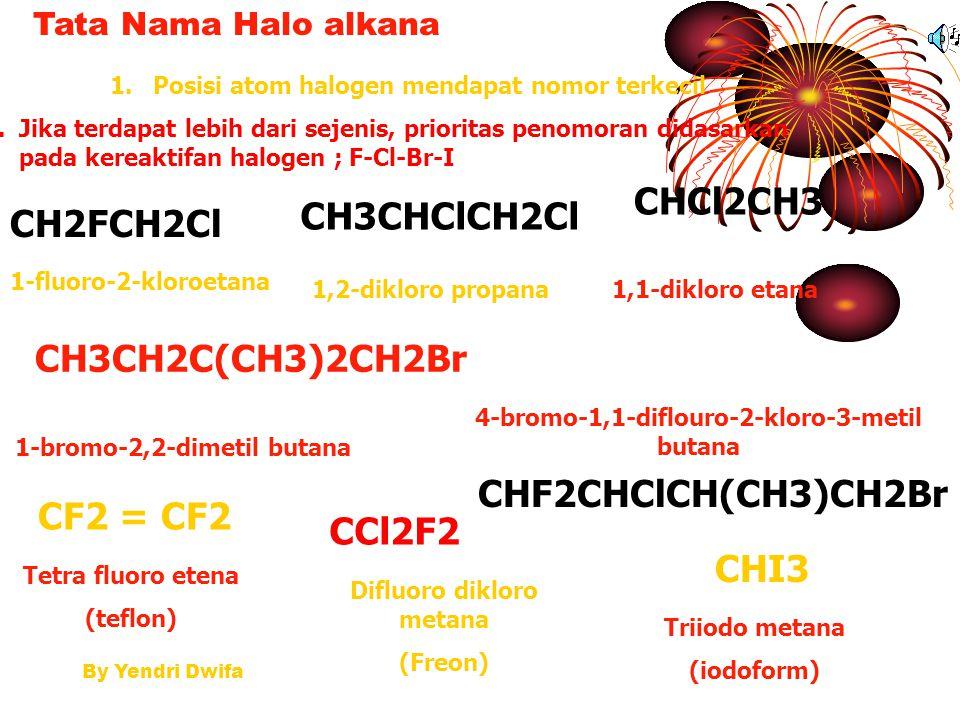 By Yendri Dwifa HALOALKANA/ALKIL HALIDA Hasil substitusi halogen pada alkana CH4 + CL2 → CH3Cl + HCl CH3Cl + Cl2 → CH2Cl2 + HCl CH2CL2 + Cl2 → CHCl3 +