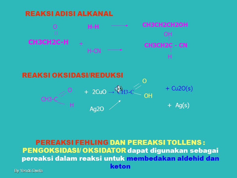 By Yendri Dwifa ALDEHID Alkanal Sifat FisisSifat kimia Mudah larut Sukar larut Atom C1-5Atom C >5 Adisi Oksidasi Reduksi Asam alkanoat Fehling Tollens