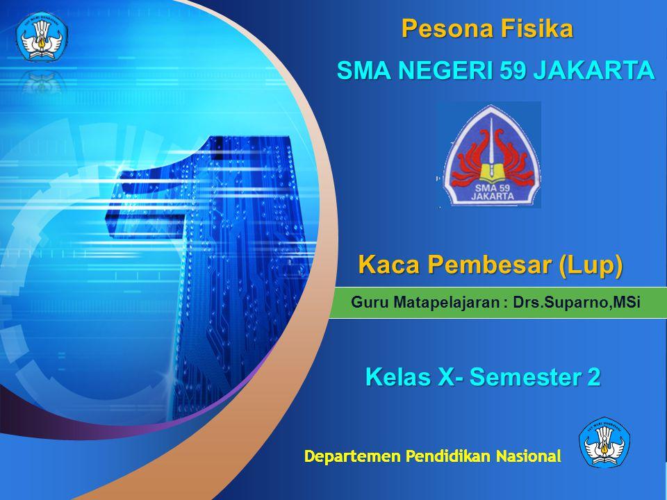 Departemen Pendidikan Nasional Guru Matapelajaran : Drs.Suparno,MSi Pesona Fisika SMA NEGERI 59 JAKARTA KKKK aaaa cccc aaaa P P P P eeee mmmm bbbb eee