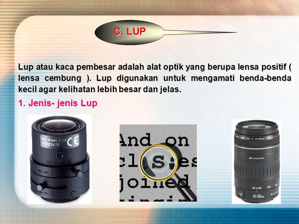 C. LUP Lup atau kaca pembesar adalah alat optik yang berupa lensa positif ( lensa cembung ).