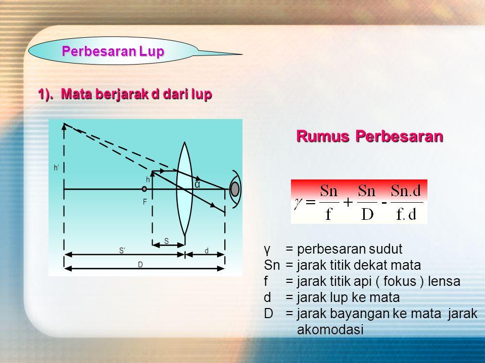 Perbesaran Lup 1). Mata berjarak d dari lup γ= perbesaran sudut Sn= jarak titik dekat mata f= jarak titik api ( fokus ) lensa d= jarak lup ke mata D=