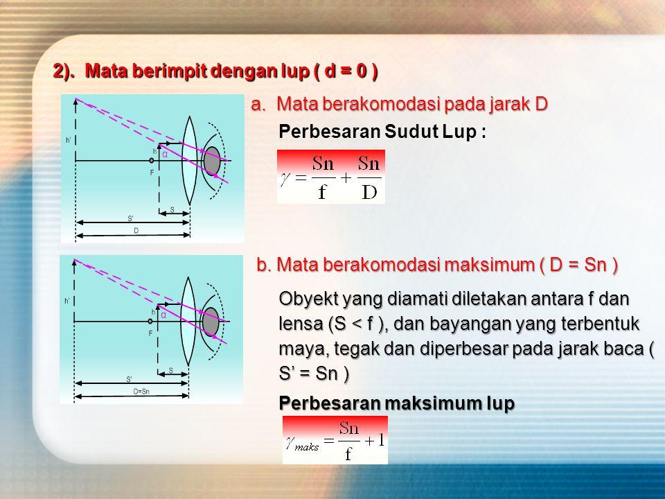Perbesaran Sudut Lup : 2). Mata berimpit dengan lup ( d = 0 ) a.