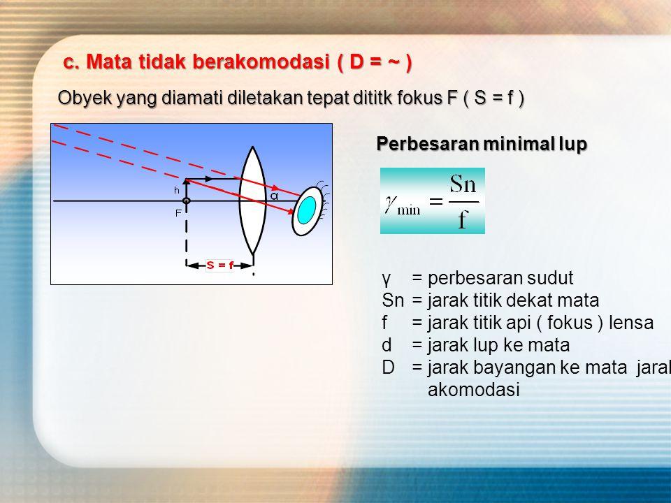 c. Mata tidak berakomodasi ( D = ~ ) Obyek yang diamati diletakan tepat dititk fokus F ( S = f ) Perbesaran minimal lup γ= perbesaran sudut Sn= jarak