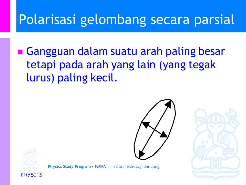 Physics Study Program - FMIPA | Institut Teknologi Bandung PHYSI S Polarisasi Umumnya penjalaran gelombang EM sama dalam segala arah atau secara keseluruhan menjalar secara acak.
