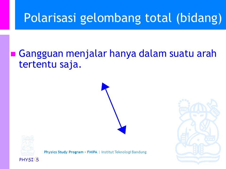 Physics Study Program - FMIPA | Institut Teknologi Bandung PHYSI S Polarisasi gelombang secara parsial Gangguan dalam suatu arah paling besar tetapi pada arah yang lain (yang tegak lurus) paling kecil.