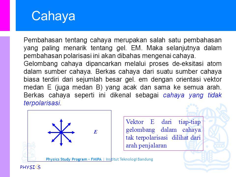 Physics Study Program - FMIPA | Institut Teknologi Bandung PHYSI S Polarisasi gelombang total (bidang) Gangguan menjalar hanya dalam suatu arah tertentu saja.