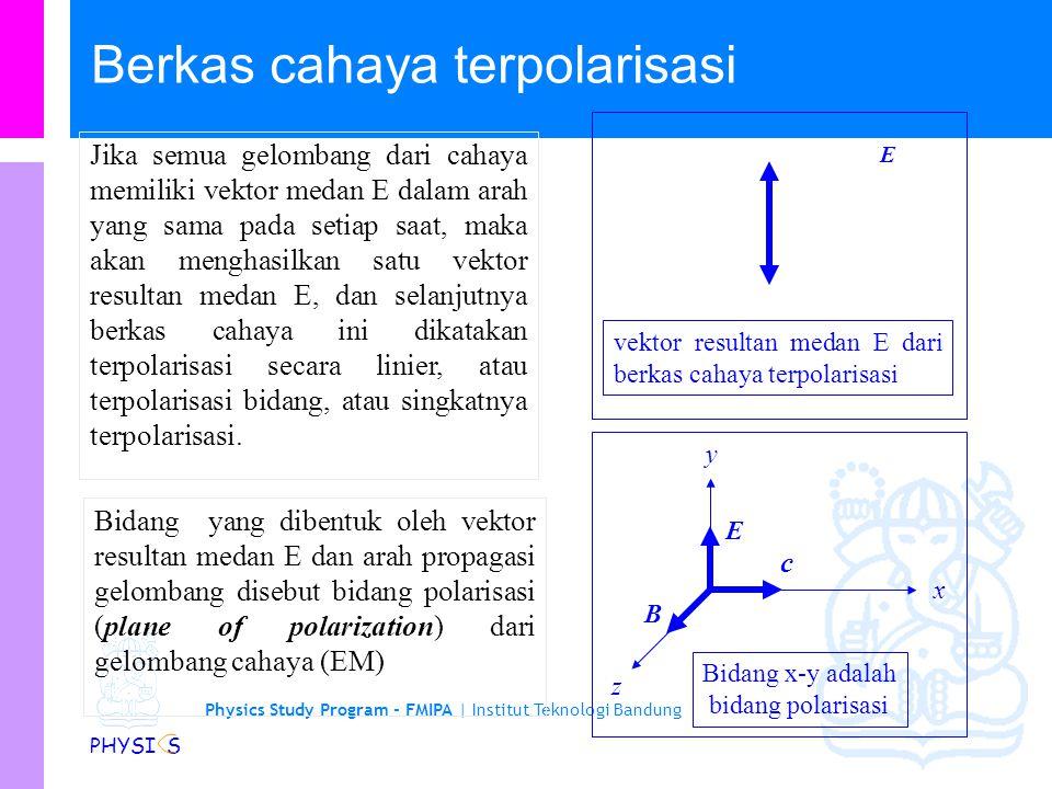 Physics Study Program - FMIPA | Institut Teknologi Bandung PHYSI S Pembahasan tentang cahaya merupakan salah satu pembahasan yang paling menarik tentang gel.