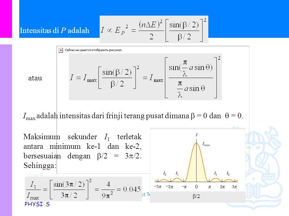 Physics Study Program - FMIPA | Institut Teknologi Bandung PHYSI S Medan listrik resultan di P adalah dimana Dari diagram fasor, dapat dilihat bahwa: