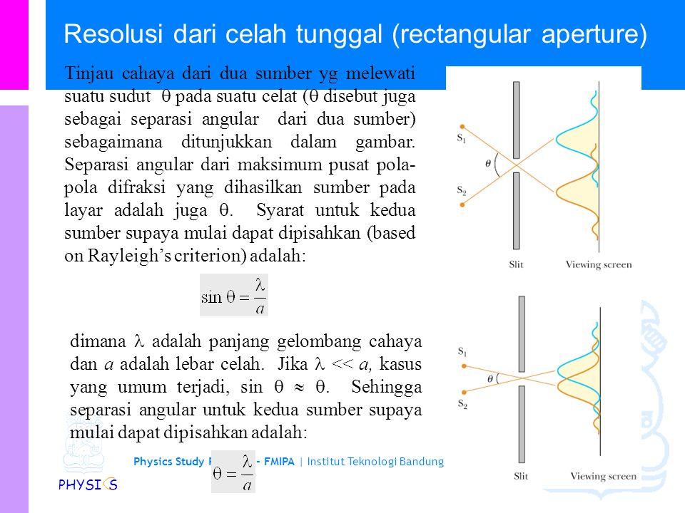 Physics Study Program - FMIPA | Institut Teknologi Bandung PHYSI S Kriteria Rayleigh Jika maksimum pusat dari suatu pola difraksi jatuh pada minimum p