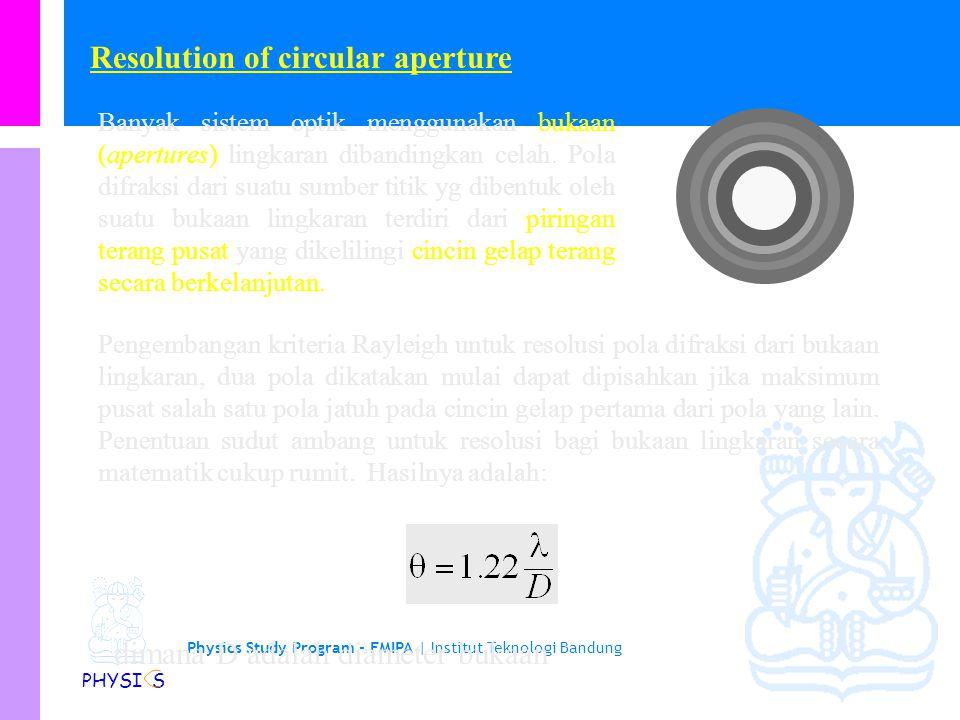 Physics Study Program - FMIPA | Institut Teknologi Bandung PHYSI S Resolusi dari celah tunggal (rectangular aperture) Tinjau cahaya dari dua sumber yg