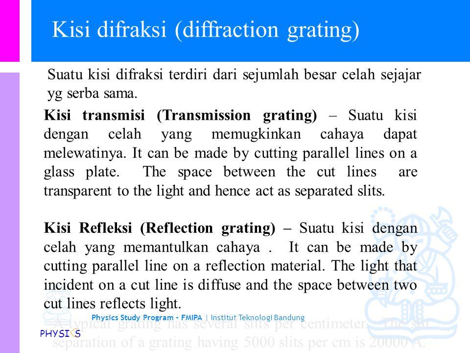 Physics Study Program - FMIPA | Institut Teknologi Bandung PHYSI S Resolution of circular aperture Banyak sistem optik menggunakan bukaan (apertures)