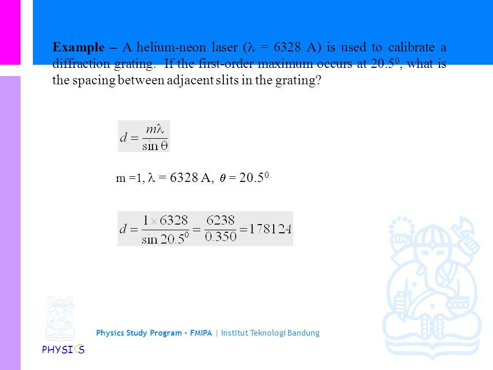 Physics Study Program - FMIPA | Institut Teknologi Bandung PHYSI S Grating patterns of two wavelengths -4-3-243210 = 4000 A + = 5000 A sin  m -4-3-24