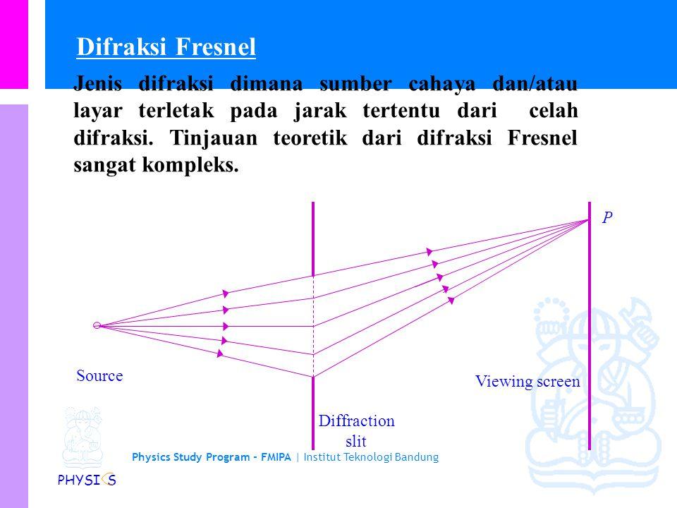 Physics Study Program - FMIPA | Institut Teknologi Bandung PHYSI S Jenis difraksi dimana sumber cahaya dan/atau layar terletak pada jarak tertentu dari celah difraksi.