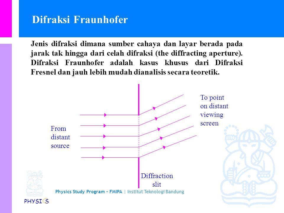 Physics Study Program - FMIPA | Institut Teknologi Bandung PHYSI S Jenis difraksi dimana sumber cahaya dan layar berada pada jarak tak hingga dari celah difraksi (the diffracting aperture).