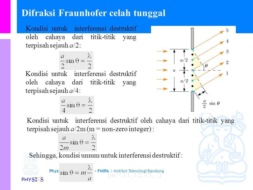 Physics Study Program - FMIPA | Institut Teknologi Bandung PHYSI S Difraksi Fraunhofer celah tunggal Kondisi untuk interferensi destruktif oleh cahaya dari titik-titik yang terpisah sejauh a/2: Kondisi untuk interferensi destruktif oleh cahaya dari titik-titik yang terpisah sejauh a/4: Kondisi untuk interferensi destruktif oleh cahaya dari titik-titik yang terpisah sejauh a/2m (m = non-zero integer) : Sehingga, kondisi umum untuk interferensi destruktif : (m =  1,  2,  3,..)