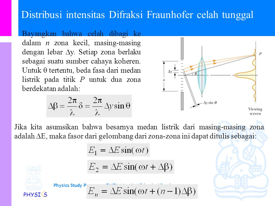 Physics Study Program - FMIPA | Institut Teknologi Bandung PHYSI S Distribusi intensitas Difraksi Fraunhofer celah tunggal Bayangkan bahwa celah dibagi ke dalam n zona kecil, masing-masing dengan lebar  y.