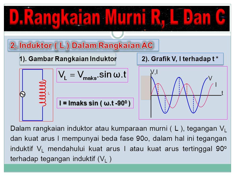 Dalam rangkaian induktor atau kumparaan murni ( L ), tegangan V L dan kuat arus I mempunyai beda fase 90o, dalam hal ini tegangan induktif V L mendahului kuat arus I atau kuat arus tertinggal 90 o terhadap tegangan induktif (V L ) 1).