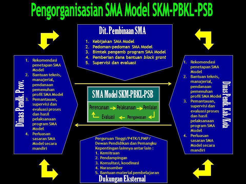 1. Kebijakan SMA Model 2. Pedoman-pedoman SMA Model 3. Bimtek pengemb program SMA Model 4.Pemberian dana bantuan block grant 5.Supervisi dan evaluasi