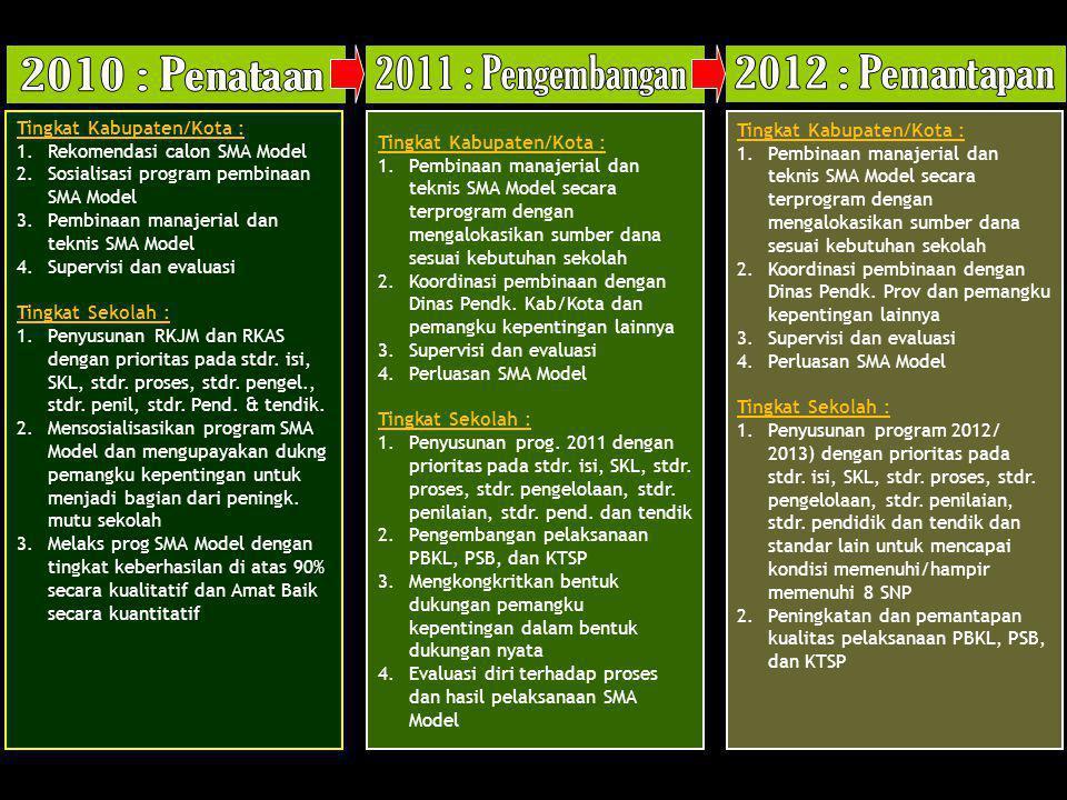 Tingkat Kabupaten/Kota : 1.Rekomendasi calon SMA Model 2.Sosialisasi program pembinaan SMA Model 3.Pembinaan manajerial dan teknis SMA Model 4.Supervi