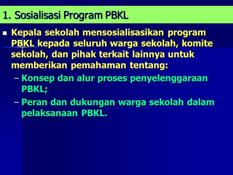 1. Sosialisasi Program PBKL Kepala sekolah mensosialisasikan program PBKL kepada seluruh warga sekolah, komite sekolah, dan pihak terkait lainnya untu