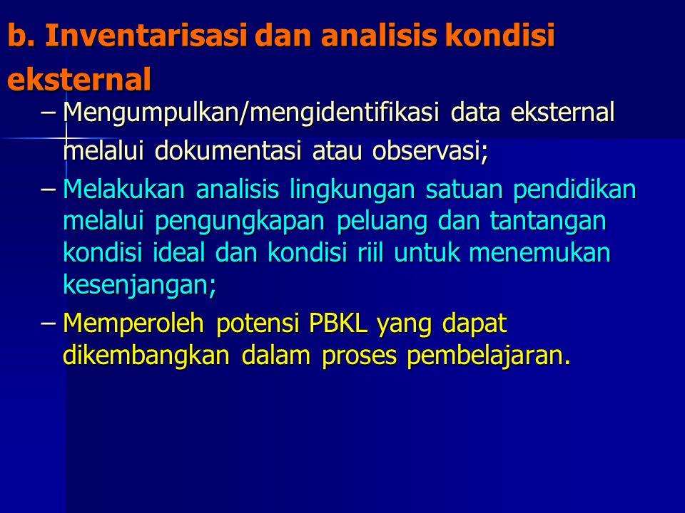 b. Inventarisasi dan analisis kondisi eksternal –Mengumpulkan/mengidentifikasi data eksternal melalui dokumentasi atau observasi; –Melakukan analisis