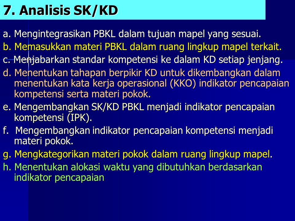 7.Analisis SK/KD a. Mengintegrasikan PBKL dalam tujuan mapel yang sesuai.