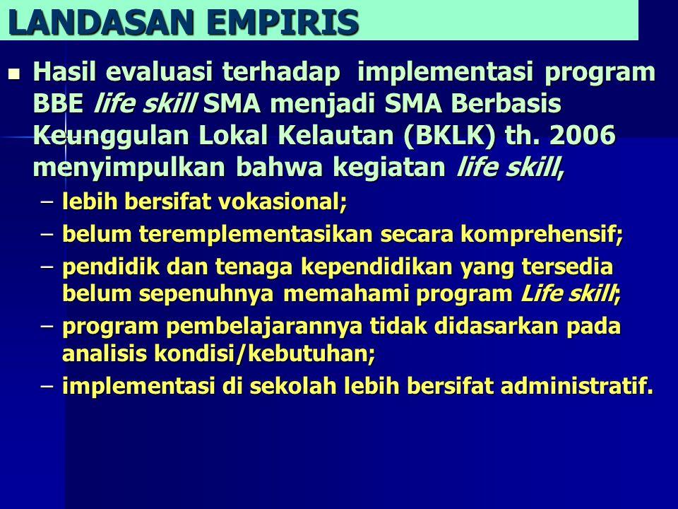 LANDASAN EMPIRIS Hasil evaluasi terhadap implementasi program BBE life skill SMA menjadi SMA Berbasis Keunggulan Lokal Kelautan (BKLK) th.