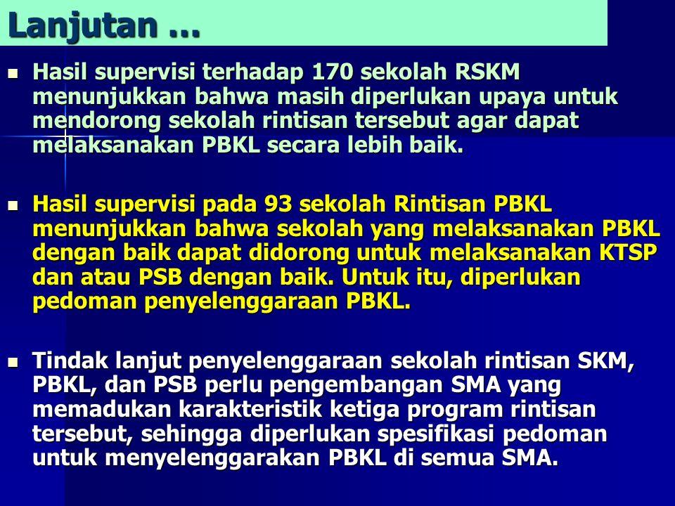Lanjutan … Hasil supervisi terhadap 170 sekolah RSKM menunjukkan bahwa masih diperlukan upaya untuk mendorong sekolah rintisan tersebut agar dapat melaksanakan PBKL secara lebih baik.