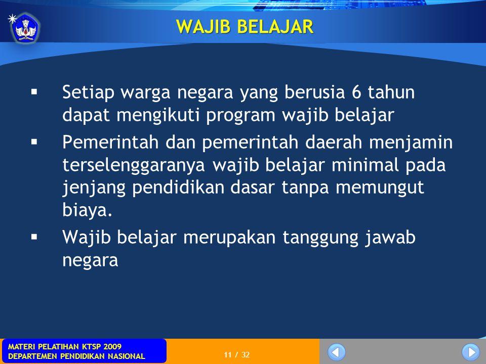 MATERI PELATIHAN KTSP 2009 DEPARTEMEN PENDIDIKAN NASIONAL 11 / 32 WAJIB BELAJAR  Setiap warga negara yang berusia 6 tahun dapat mengikuti program waj