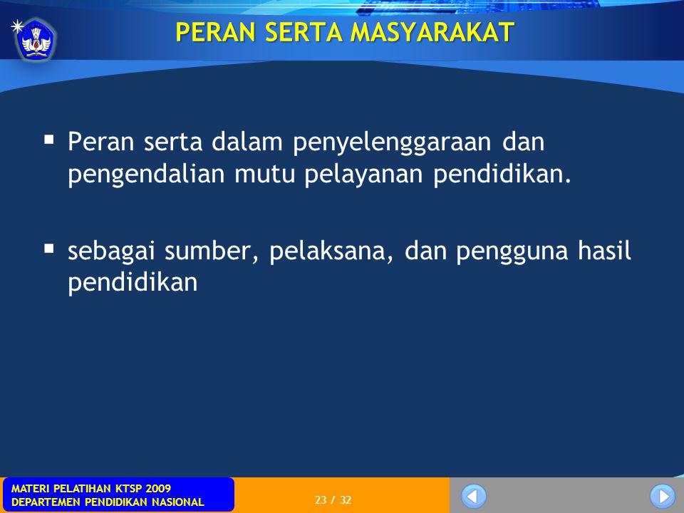 MATERI PELATIHAN KTSP 2009 DEPARTEMEN PENDIDIKAN NASIONAL 23 / 32 PERAN SERTA MASYARAKAT  Peran serta dalam penyelenggaraan dan pengendalian mutu pel