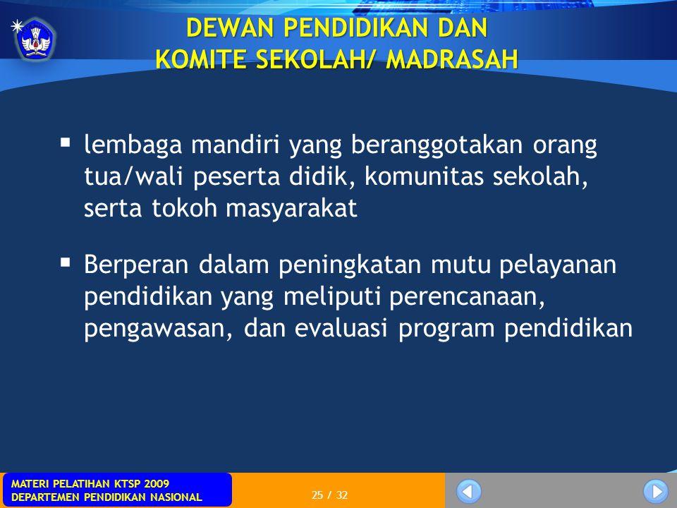 MATERI PELATIHAN KTSP 2009 DEPARTEMEN PENDIDIKAN NASIONAL 25 / 32 DEWAN PENDIDIKAN DAN KOMITE SEKOLAH/ MADRASAH  lembaga mandiri yang beranggotakan o