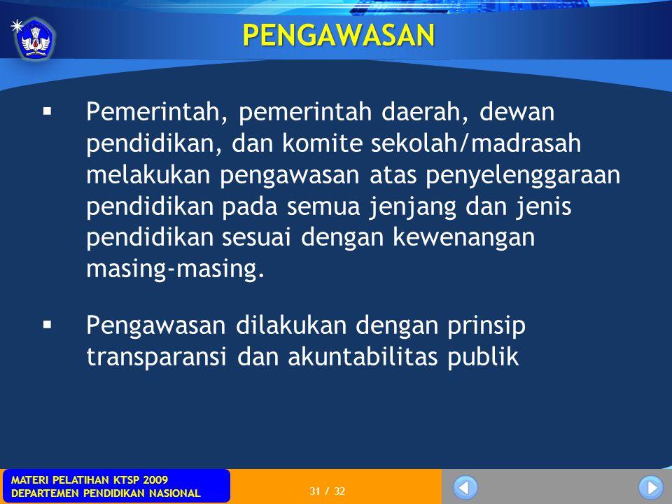 MATERI PELATIHAN KTSP 2009 DEPARTEMEN PENDIDIKAN NASIONAL 31 / 32 PENGAWASAN  Pemerintah, pemerintah daerah, dewan pendidikan, dan komite sekolah/mad