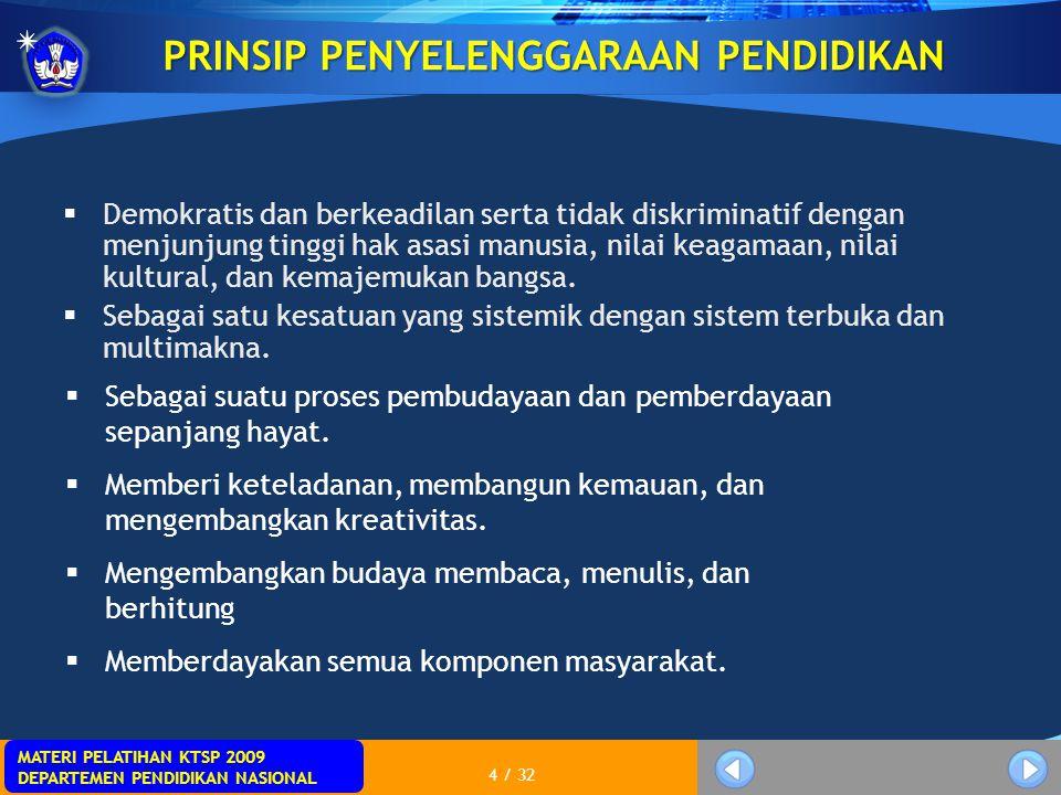 MATERI PELATIHAN KTSP 2009 DEPARTEMEN PENDIDIKAN NASIONAL 4 / 32 PRINSIP PENYELENGGARAAN PENDIDIKAN  Demokratis dan berkeadilan serta tidak diskrimin