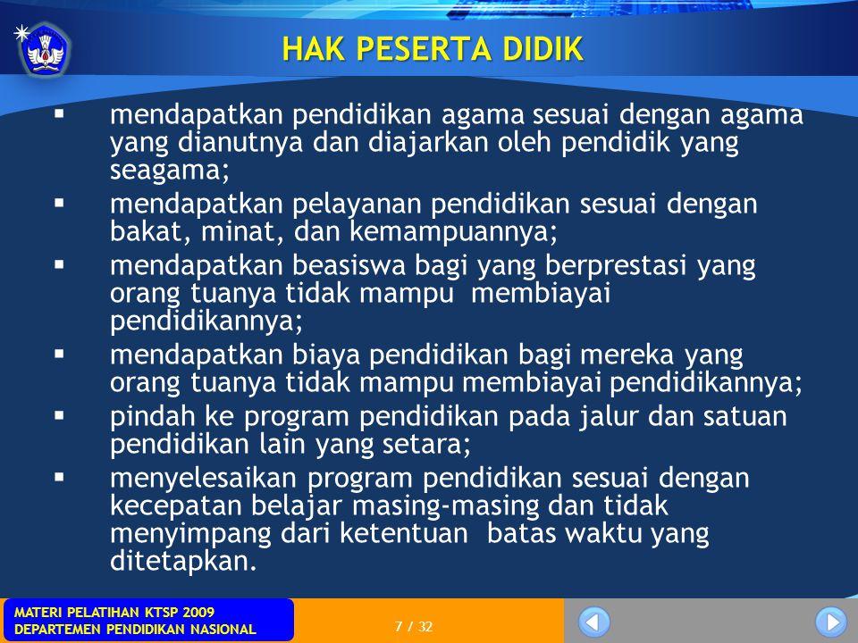 MATERI PELATIHAN KTSP 2009 DEPARTEMEN PENDIDIKAN NASIONAL 7 / 32 HAK PESERTA DIDIK  mendapatkan pendidikan agama sesuai dengan agama yang dianutnya d