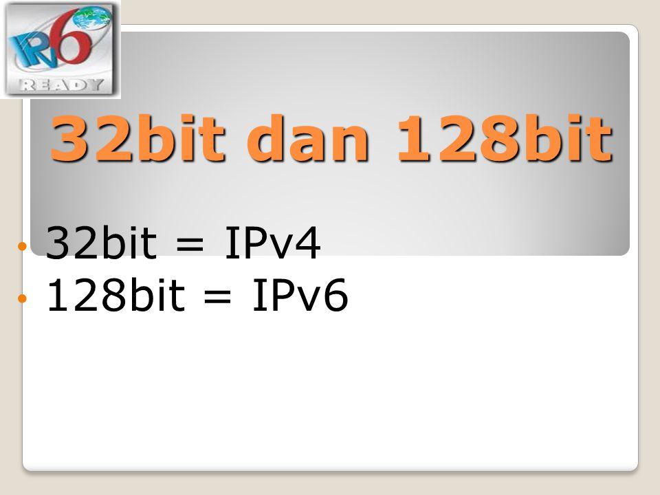 32bit dan 128bit 32bit = IPv4 128bit = IPv6