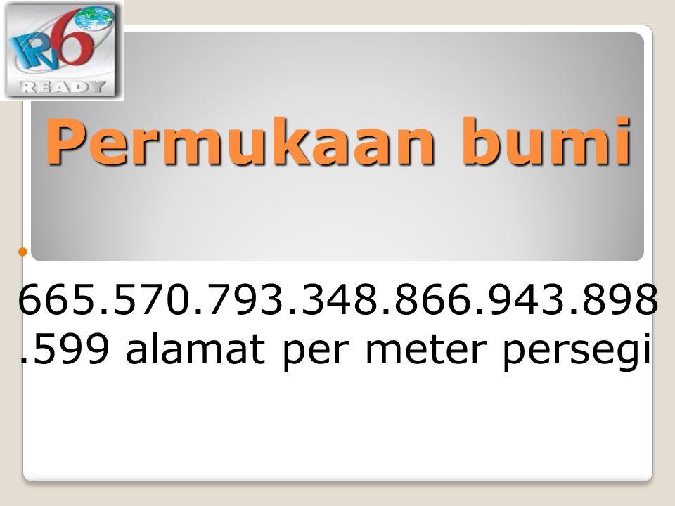 Permukaan bumi 665.570.793.348.866.943.898.599 alamat per meter persegi