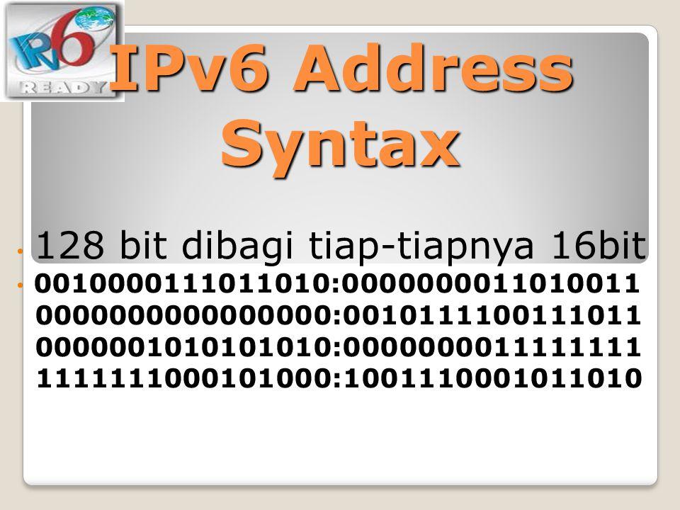 IPv6 Address Syntax 128 bit dibagi tiap-tiapnya 16bit 0010000111011010:0000000011010011 0000000000000000:0010111100111011 0000001010101010:00000000111