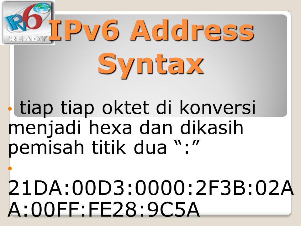 """IPv6 Address Syntax tiap tiap oktet di konversi menjadi hexa dan dikasih pemisah titik dua """":"""" 21DA:00D3:0000:2F3B:02A A:00FF:FE28:9C5A"""