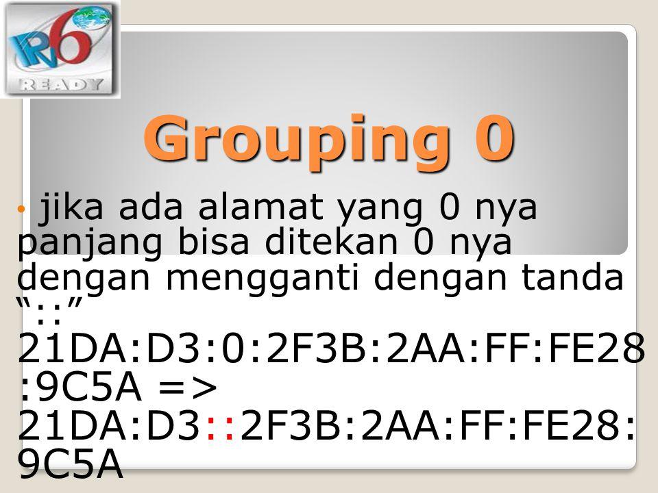"""Grouping 0 jika ada alamat yang 0 nya panjang bisa ditekan 0 nya dengan mengganti dengan tanda """"::"""" 21DA:D3:0:2F3B:2AA:FF:FE28 :9C5A => 21DA:D3::2F3B:"""