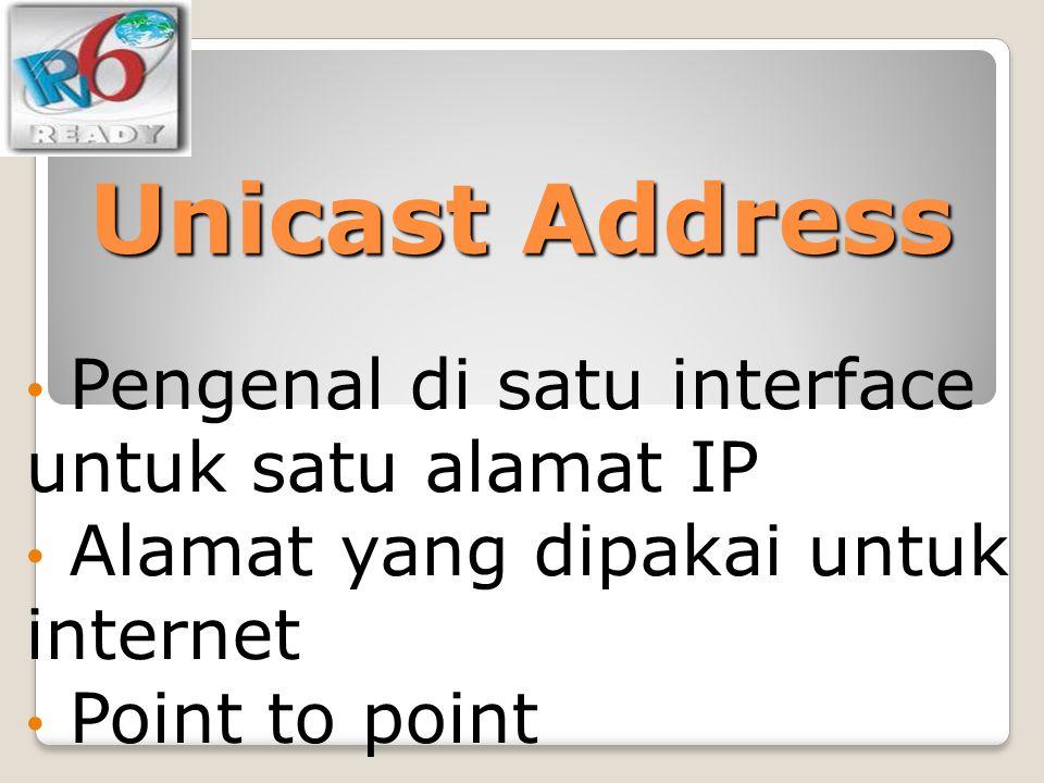 Unicast Address Pengenal di satu interface untuk satu alamat IP Alamat yang dipakai untuk internet Point to point