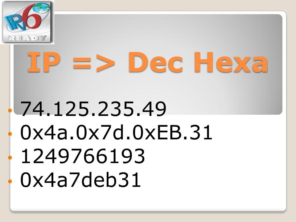 IP => Dec Hexa 74.125.235.49 0x4a.0x7d.0xEB.31 1249766193 0x4a7deb31