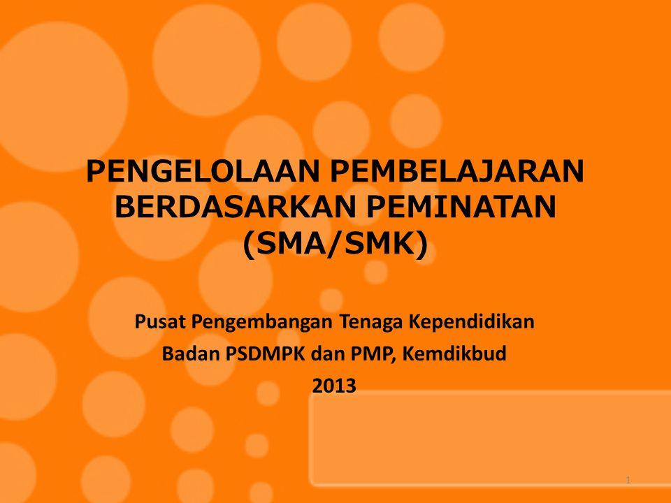 PENGELOLAAN PEMBELAJARAN BERDASARKAN PEMINATAN (SMA/SMK) Pusat Pengembangan Tenaga Kependidikan Badan PSDMPK dan PMP, Kemdikbud 2013 1