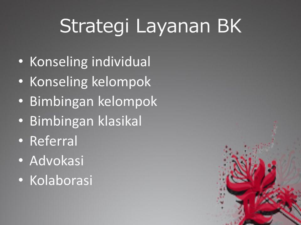 Strategi Layanan BK Konseling individual Konseling kelompok Bimbingan kelompok Bimbingan klasikal Referral Advokasi Kolaborasi 8