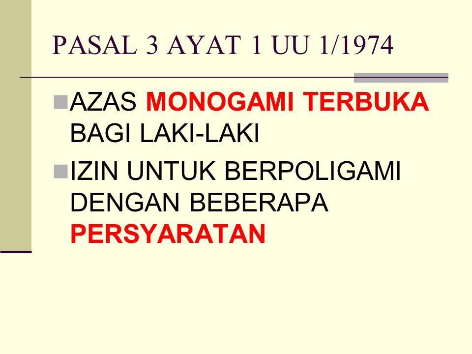 PASAL 3 AYAT 1 UU 1/1974 AZAS MONOGAMI TERBUKA BAGI LAKI-LAKI IZIN UNTUK BERPOLIGAMI DENGAN BEBERAPA PERSYARATAN
